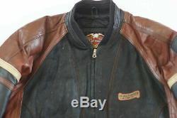 Harley Davidson Hommes Vintage USA Fabriqué Cruiser Blouson Gaufrées B&S Cuir