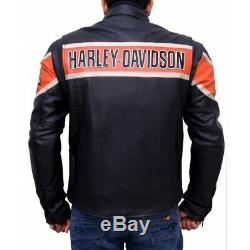 Harley Davidson Look Homme Veste Cuir Style Motard Moto Veste Aviateur