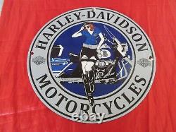 Harley Davidson Motorcycles Plaque Emaillee Pin-up Police USA / Moto