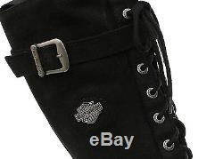 Harley Davidson Savannah Bottes Motard Cuir Noir à Lacets Moto Femmes Bottes