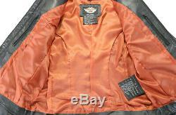 Harley Davidson Veste Cuir M Noir Classique 98153-09VW Zip Barre Bouclier Armure