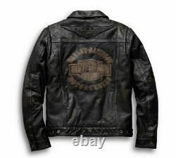Harley-Davidson Veste Homme en Cuir Digger 98036-19VM Braun Vintage-Patina