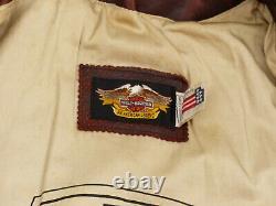 Harley Davidson Vintage Motard Veste en Cuir Moto Moteur Cycles Taille L Rareté
