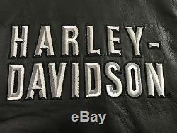 Harley-davidson Noir Cuir Moto Gilet -hommes Taille Petit