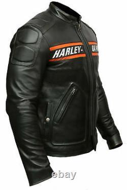 Homme Noir Bikers Harley Davidson Cuir Vestes Bill Goldberg Style