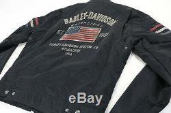 Hommes Harley Davidson Nylon Toile Cordura Veste M Noir Colton U. Drapeau Barre