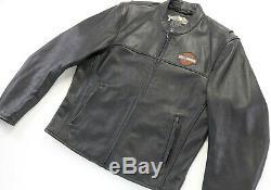 Hommes Harley Davidson Veste Cuir 2XL Stock 98112-06VM Noir Barre Bouclier Zip