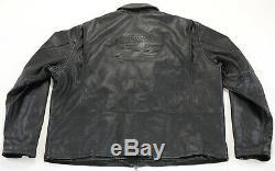 Hommes Harley Davidson Veste Cuir 3XL Noir en Relief XXXL Zip H-D Barre Doux EUC