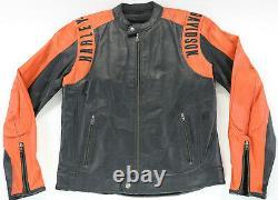 Hommes Harley Davidson Veste Cuir L Noir Orange Perforé Barre Bouclier Zip EUC