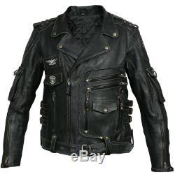 Hommes Motard Harley Davidson Vintage Style Moto Veste Noir Vrai Cuir