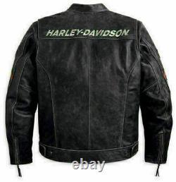 Hommes Vintage Harley Davidson Motard Véritable Cuir Veste Neuf Rider Haut