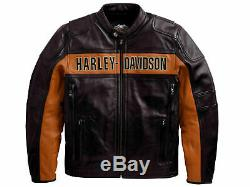 Hommes Vrai Noir Véritable Cuir de Mouton Motard Harley Davidson Veste Moto