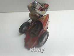 Jouet ancien tôle mécanique Polichinelle moto side car Harley Davidson