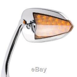 KiWAV rétroviseurs FLASH OVAL chromé avec LED pour Harley-Davidson moto