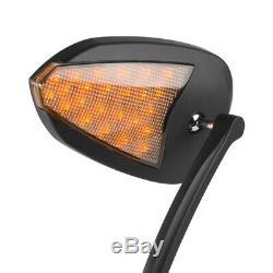 KiWAV rétroviseurs FLASH OVAL noir avec LED pour Harley-Davidson moto