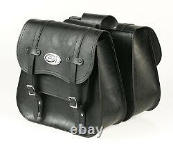 Ledrie Sacoches de Selle Moto Noir Cuir Renforcé 20 Litre, pour Harley Davidson