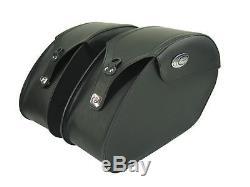 Ledrie Sacoches de selle moto en cuir noir, renforcé, 18 Litre, f. Harley Davidson
