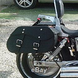 MOTO CUIR NOIR SACOCHES PANIERS Harley Davidson Softail Fatboy C12A