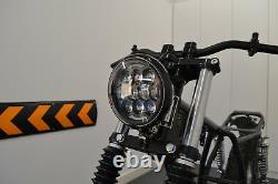Moto LED Phare Noir Brillant Pour Personnalisé Harley Davidson Sanglier Projet
