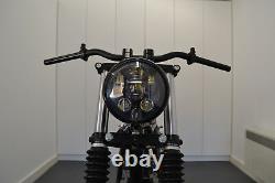 Moto Phare Noir Brillant pour Harley Davidson 6 Pouce Projecteur LED