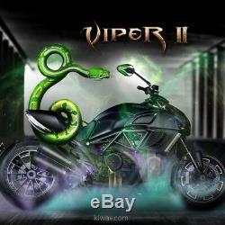 Moto rétros ViperII noir & vert universel adjustable pour Harley-Davidson