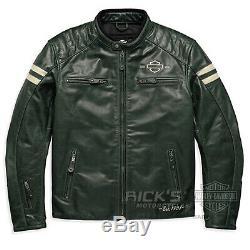 Original Harley-Davidson Hommes Moto Veste en Cuir Vert 97194-18EM