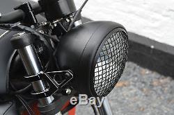 Phare pour Harley Davidson Scrambler Moto 7.7 Noir Grille Maille H4 55w Rétro