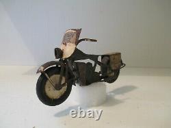 RARE ANCIENNE MOTO EN TOLE MILITARY POLICE HARLEY DAVIDSON par POLICHINELLE 1950