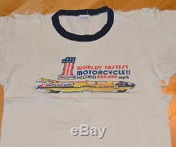 Rare 1971 Harley Davidson Vtg Moto T-Shirt (M) #1 Champion 70's Blue-Bar