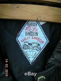 Rare Blouson Moto / Harley-davidson / Vintage /cuir/ Leather/ T 7