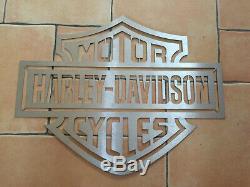 Rare Grande Plaque Publicitaire Logo Harley Davidson, Moto Motard Biker, Grand