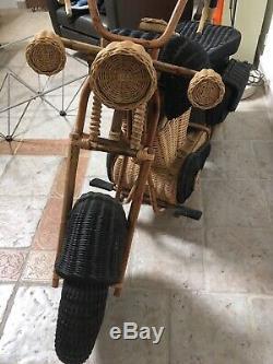 Rare Moto De Tom Dixon En Osier Pour Habitat Année 1980 Harley-Davidson