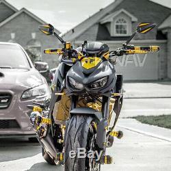 Rétroviseur Achilles 3D noir or adjustable pour café racer moto bike