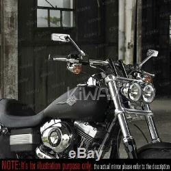 Rétroviseur miroir carré chromé universel pour Harley-Davidson motos