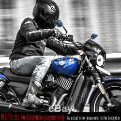 Rétroviseurs moto Achilles noir et bleu paire pour Harley Street 750 2014-2017