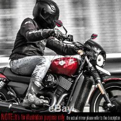 Rétroviseurs moto Achilles noir et rouge paire pour Harley Street 750 2014-2017