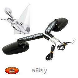 Rétroviseurs moto stem avec clignotants intégrés, noir ou chrome