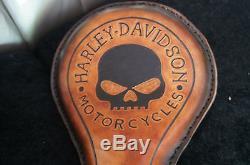 SELLE SOLO CUIR SKULL HD MARRON Tous Types de Motos et Harley Davidson