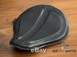 Selle solo en cuir noire avec inserts en gel pour Harley-Davidson custom moto