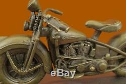 Signée Original Fonte Harley Davidson Moto Bronze Sculpture Statue Cadeau