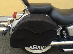 (T) Moto Cuir Noir Sacoches Sacoche Harley Davidson pour Fatboy