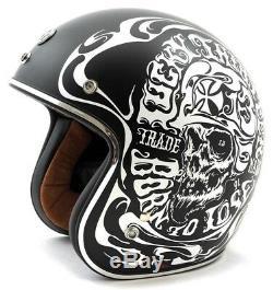 Torc T-50 Fumé Skull Lucky 13 Casque Noir Mat Harley Davidson