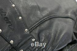 Vintage Femmes Harley Davidson Cuir Veste M Sierra Rose en Relief Conchos Tressé