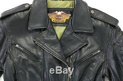 Vintage Femmes Harley Davidson Veste Cuir S Sierra Rose en Relief Conchos Tressé