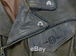 Vintage Hommes Harley Davidson Billings Veste M M Marron Délavé Fermeture Barre