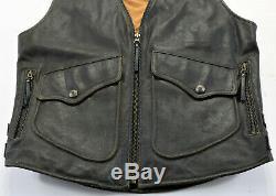 Vintage Hommes Harley Davidson Gilet S M Billings Délavé 98248-94VM Marron Zip