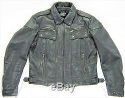 Vintage Hommes Harley Davidson Hein Gericke Veste Cuir 42 S M Noir Snap Zip BAR
