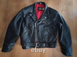 Vintage Perfecto Harley Davidson Motorcycles Cuir Noir Patine Taille XL