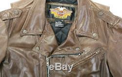 Vintage USA Hommes Harley Davidson Cuir Veste XL Marron Shovel Isolé V-Twin