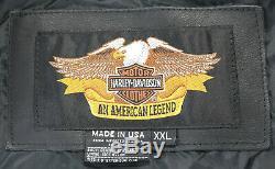 Vintage USA Hommes Harley Davidson Moto Cuir Veste 2XL Noir Basique Skins Barre
